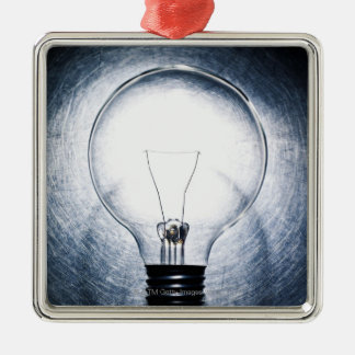 Light Bulb on Stainless Steel Background Silver-Colored Square Decoration