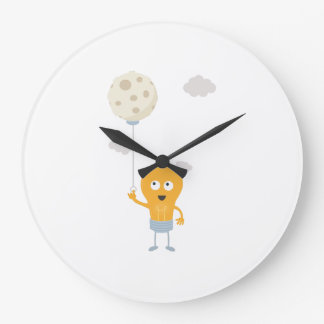 light bulb switch on the moon Ze7r4 Large Clock