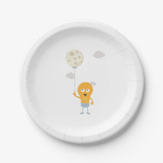 light bulb switch on the moon Ze7r4 Paper Plate
