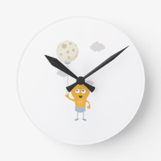 light bulb switch on the moon Ze7r4 Round Clock