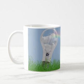 light bulb with rainbow and flowers coffee mug
