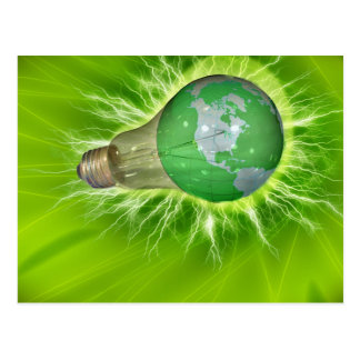 Light Bulb World Globe Postcard