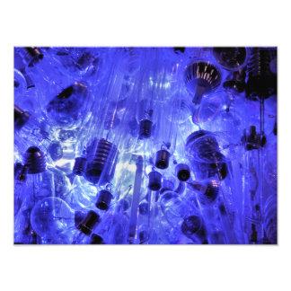 LIGHT BULBS IN BLUE PHOTO PRINT