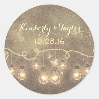 Light Bulbs - String Lights Wedding Classic Round Sticker