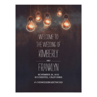 Light Bulbs Strings Wedding Welcome Sign Poster