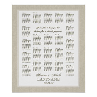 Light Burlap Wedding Seating Chart Posters