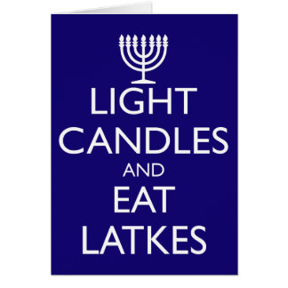 LIGHT CANDLES AND EAT LATKES CARD