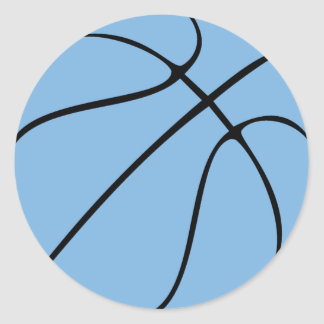 Light/Carolina Blue Basketball Party or Scrapbook Classic Round Sticker