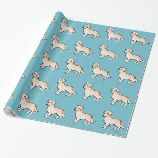 Light Color Golden Retriever Dogs Pattern On Blue Wrapping Paper