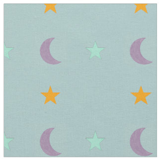 Light colours stars and moon fabric