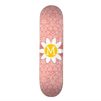 Light Coral Damask; Daisy Skate Board Decks