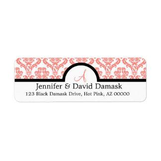Light Coral Damask Wedding Monogram Labels