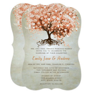 Light Coral Heart Leaf Tree Wedding Invites