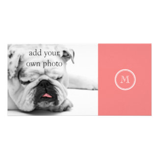 Light Coral High End Colored Monogram Custom Photo Card