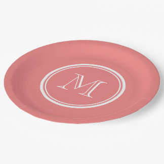 Light Coral High End Colored Monogram Paper Plate