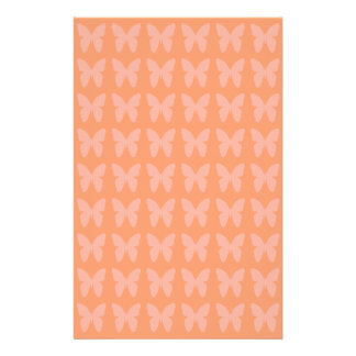Light Coral Orange Background Butterfly Patterns Stationery