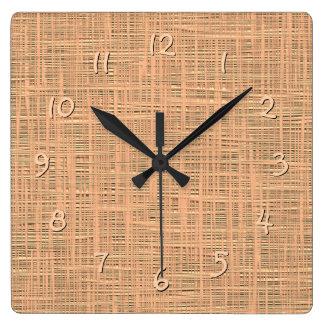 Light Coral Orange Color Faux Jute Fabric Pattern Square Wall Clock