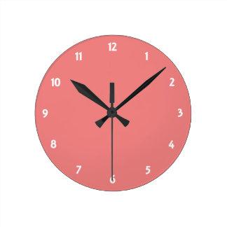 Light Coral Round Clock