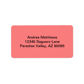 Light Coral Solid Color Address Label