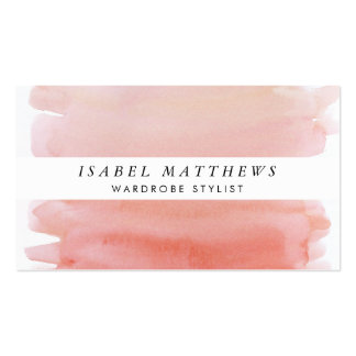 Light Coral Watercolor & White Stripe Pack Of Standard Business Cards