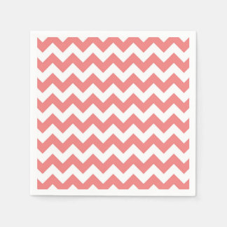 Light Coral White Chevron Zig-Zag Pattern Paper Napkin