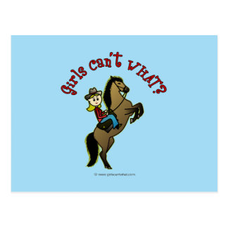 Light Cowgirl on Horse Postcard