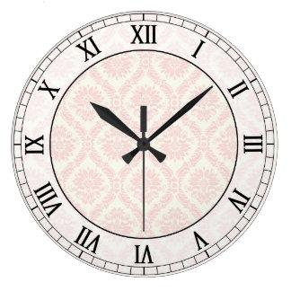 light cream and pink damask roman numerals wallclock