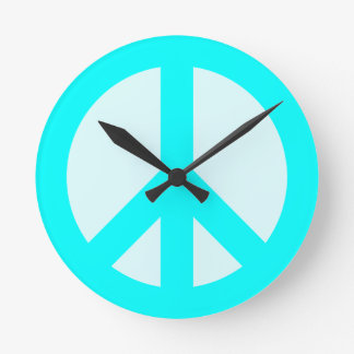 Light Cyan Peace Sign Wall Clock
