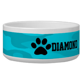Light &Dark Blue Camouflage Personalized Dog Bowl
