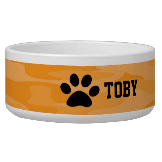 Light&Dark Orange Camouflage Personalized Dog Bowl