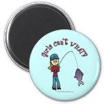 Light Fishing Girl 6 Cm Round Magnet