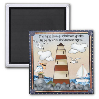 Light From Lighthouse Guides Square Magnet