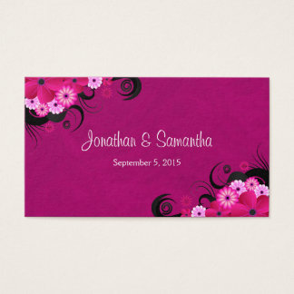 Light Fuchsia Floral Large Wedding Favor Tags Business Card
