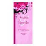Light Fuchsia Floral Wedding Program Template Card Rack Cards