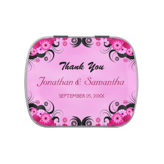 Light Fuchsia Square Wedding Favor Candy Tins