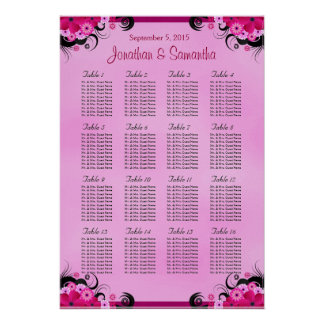 Light Fuschia 16 Wedding Table Seating Charts