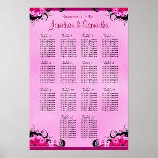 Light Fuschia Wedding 14 Tables Seating Chart Poster