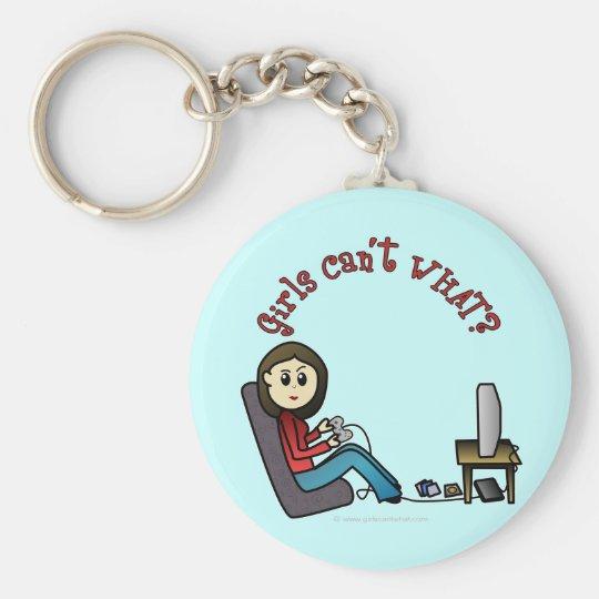Light Gamer Girl Basic Round Button Key Ring