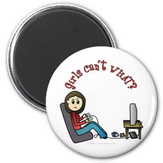 Light Gamer Girl 6 Cm Round Magnet