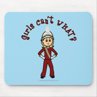 Light Girl in Red Marching Band Uniform Mouse Pads
