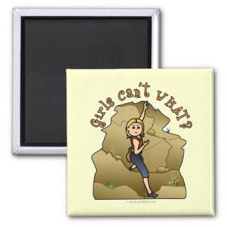 Light Girl Rock Climber Square Magnet