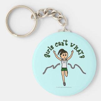 Light Girl Runner in Green Uniform Key Chains
