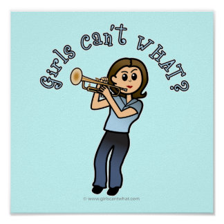 Light Girl Trumpet Player Print