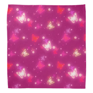 Light Glow Butterflies Magenta Pink Design Kerchief