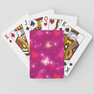 Light Glow Butterflies Magenta Pink Design Playing Cards