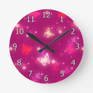 Light Glow Butterflies Magenta Pink Design Round Clock