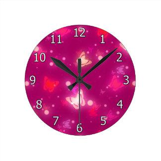 Light Glow Butterflies Magenta Pink Design Wall Clock