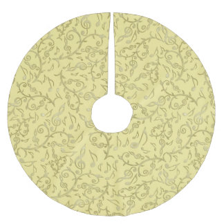 Light Gold Floral Music Notes Pattern Tree Skirt