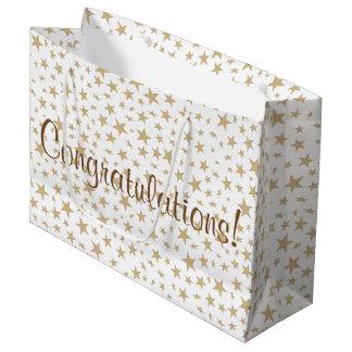Light Gold Stars Print Pattern Large Gift Bag