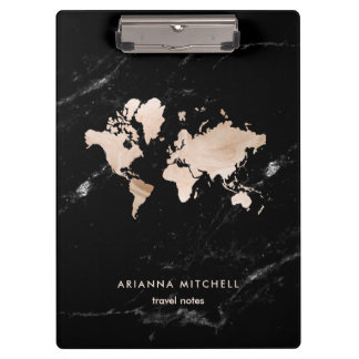 Light Gold World Map on Black Marble Clipboard